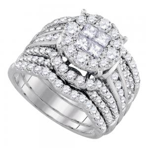 14kt White Gold Womens Princess Soleil Diamond Bridal Wedding Engagement Ring Ba