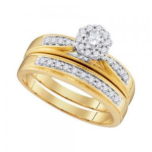 10kt Yellow Gold Womens Round Diamond Bridal Wedding Engagement Ring Band Set 3/