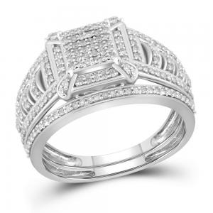 10kt White Gold Womens Diamond Square Cluster Bridal Wedding Engagement Ring Ban