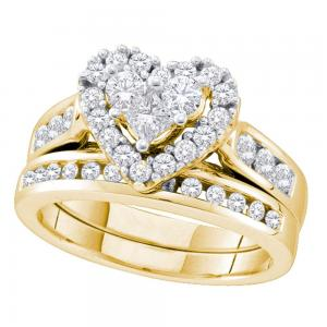 14k Yellow Gold Womens Round Princess Diamond Heart Wedding Bridal Ring Set 1.00