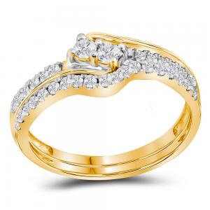 10kt Yellow Gold Womens Round Diamond 2-stone Bridal Wedding Engagement Ring Ban