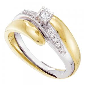 10kt Yellow Two-tone Gold Womens Round Diamond Bridal Wedding Engagement Ring Ba
