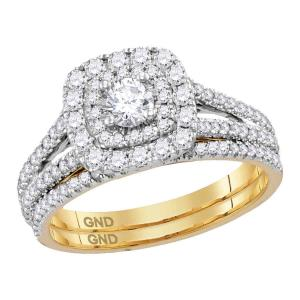 14kt Yellow Gold Womens Round Diamond Double Halo Bridal Wedding Engagement Ring