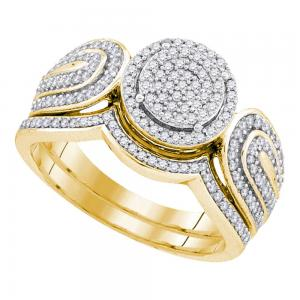 10kt Yellow Gold Womens Round Diamond Cluster Bridal Wedding Engagement Ring Ban