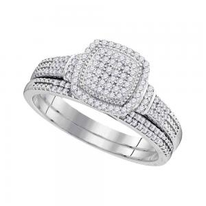 10kt White Gold Womens Round Diamond Square Cluster Bridal Wedding Engagement Ri
