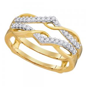 10kt Yellow Gold Womens Round Diamond Wrap Ring Guard Enhancer Wedding Band 1/4