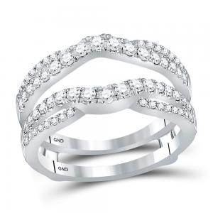 14kt White Gold Womens Round Diamond Ring Guard Wrap Ring Guard Enhancer 5/8 Ctt