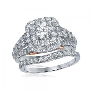 14kt White Gold Womens Round Diamond Bellissimo Double Halo Bridal Wedding Engag