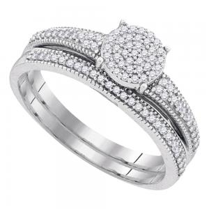 10k White Gold Womens Diamond Cluster Bridal Wedding Engagement Ring Band Set 1/