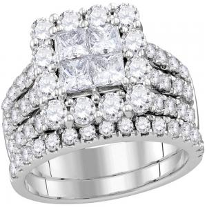14kt White Gold Womens Princess Diamond Cluster Bridal Wedding Engagement Ring B