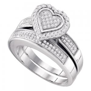 Sterling Silver Womens Round Diamond Heart Bridal Wedding Engagement Ring Band S