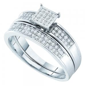 Sterling Silver Womens Round Diamond Bridal Wedding Engagement Ring Band Set 1/5