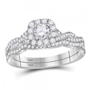 14kt White Gold Womens Round Diamond Twist Bridal Wedding Engagement Ring Band S