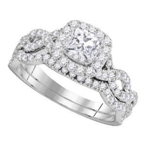 14kt White Gold Womens Princess Diamond Twist Bridal Wedding Engagement Ring Ban