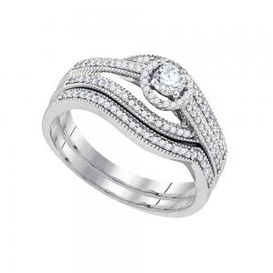 10kt White Gold Womens Round Diamond Bridal Wedding Engagement Ring Band Set 3/8