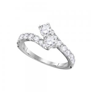 14kt White Gold Womens Round Diamond 2-stone Bridal Wedding Engagement Ring Band