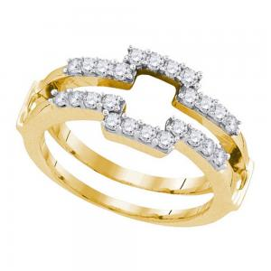 14kt Yellow Gold Womens Round Diamond Square Wrap Ring Guard Enhancer Wedding Ba