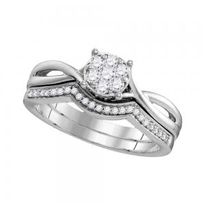 10kt White Gold Womens Round Diamond Twist Bridal Wedding Engagement Ring Band S