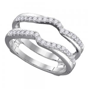 14kt White Gold Womens Round Diamond Ring Guard Wrap Ring Guard Enhancer 1/3 Ctt