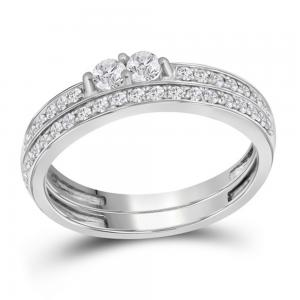 10kt White Gold Womens Round Diamond 2-Stone Bridal Wedding Engagement Ring Band