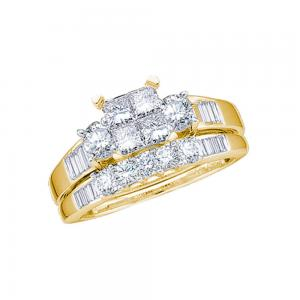 10kt Yellow Gold Womens Princess Diamond Cluster Bridal Wedding Engagement Ring