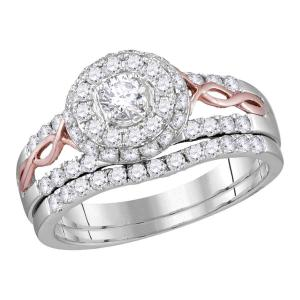 14kt White Gold Womens Round Diamond Halo Rose-tone Twist Bridal Wedding Engagem
