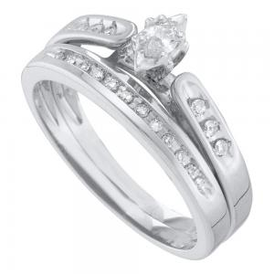 10kt White Gold Womens Marquise Diamond Bridal Wedding Engagement Ring Band Set