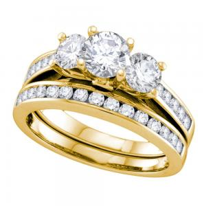 14kt Yellow Gold Womens Round 3-Stone Diamond Bridal Wedding Engagement Ring Ban