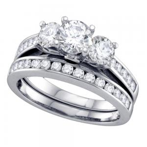 14kt White Gold Womens Round 3-Stone Diamond Bridal Wedding Engagement Ring Band