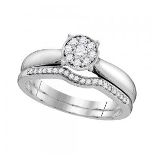 10kt White Gold Womens Round Diamond Bridal Wedding Engagement Ring Band Set 1/4