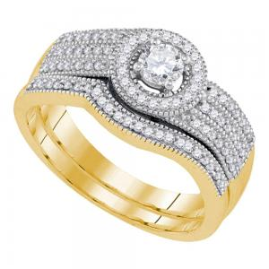 10k Yellow Gold Womens Round Diamond Bridal Wedding Engagement Ring Band Set 1/2