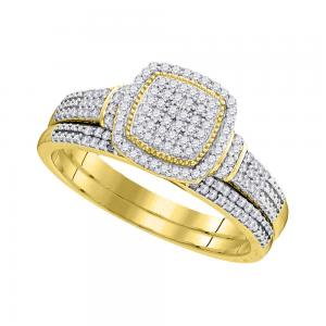 10kt Yellow Gold Womens Round Diamond Square Cluster Bridal Wedding Engagement R