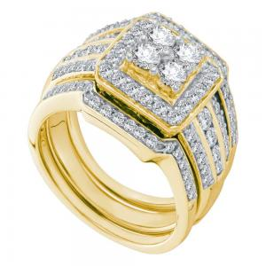 14kt Yellow Gold Womens Round Diamond Halo 3-Piece Bridal Wedding Engagement Rin