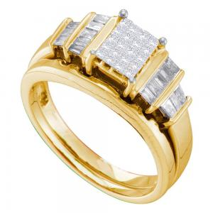 14kt Yellow Gold Womens Princess Diamond Cluster Bridal Wedding Engagement Ring