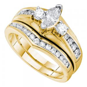 14kt Yellow Gold Womens Marquise Diamond Bridal Wedding Engagement Ring Band Set