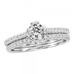 14kt White Gold Womens Round Diamond Bridal Wedding Engagement Ring Band Set 3/4