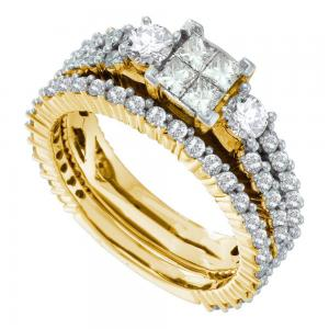 14kt Yellow Gold Womens Princess Diamond Cluster 3-Piece Bridal Wedding Engageme