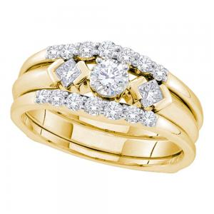 14kt Yellow Gold Womens Round Diamond 3-Stone Bridal Wedding Engagement Ring Ban