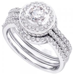 14kt White Gold Womens Round Diamond Bridal Wedding Engagement Ring Band Set 5/8