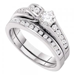 14kt White Gold Womens Round Diamond Bridal Wedding Engagement Ring Band Set 1.0