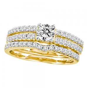 14kt Yellow Gold Womens Round Diamond 3-Piece Bridal Wedding Engagement Ring Ban