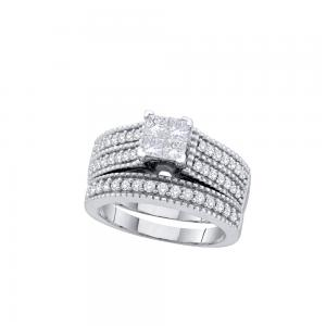14kt White Gold Womens Princess Diamond Milgrain Bridal Wedding Engagement Ring