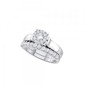 14kt White Gold Womens Princess Round Diamond Soleil Bridal Wedding Engagement R