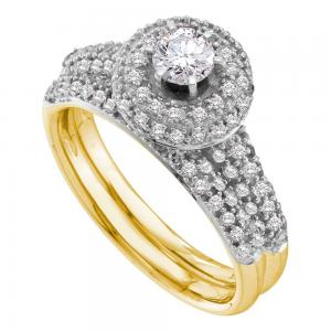 14kt Yellow Gold Womens Round Diamond Halo Bridal Wedding Engagement Ring Band S