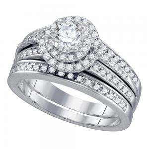 14kt White Gold Womens Round Diamond Bridal Wedding Engagement Ring Band Set 1-1