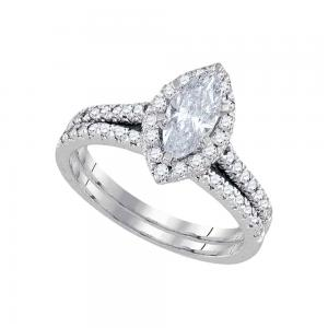 14kt White Gold Womens Marquise Diamond Halo Bridal Wedding Engagement Ring Band
