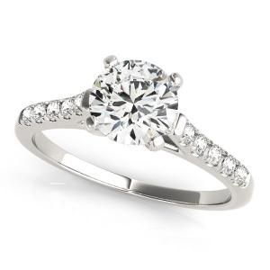 14K White Gold Cathedral Design Round Pronged Diamond Engagement Ring (1 1/8 ct.