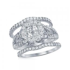 10kt White Gold Womens Princess Round Diamond Soleil Bridal Wedding Engagement R