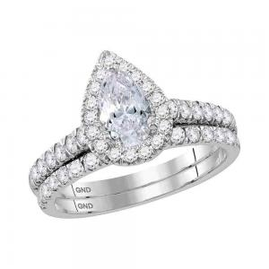 14kt White Gold Womens Pear Diamond Bridal Wedding Engagement Ring Band Set 1-1/