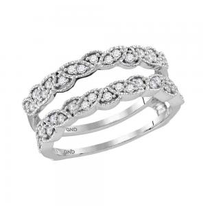 14kt White Gold Womens Round Diamond Milgrain Wrap Ring Guard Enhancer Wedding B